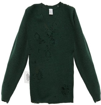 Vetements Distressed V Neck Wool Sweater - Womens - Green