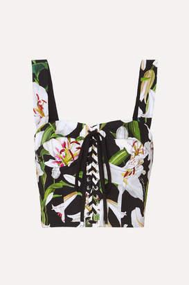 Dolce & Gabbana Cropped Floral-print Cotton-blend Poplin And Mesh Bustier Top - Black