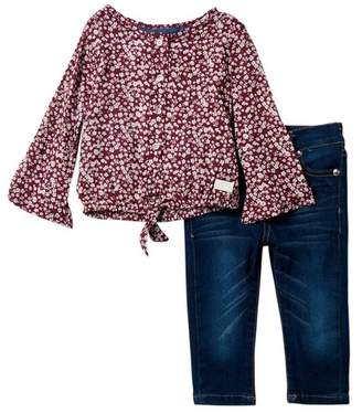 7 For All Mankind Floral Print Top & Jeans (Baby Girls)