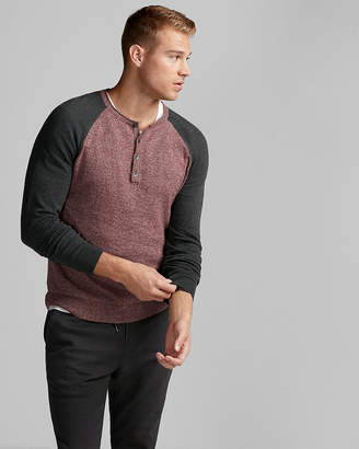 Express Color Block Raglan Henley Sweater