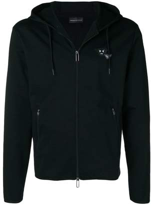 Emporio Armani angry logo zip front hoodie