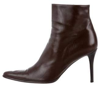 Ralph Lauren Pointed-Toe Leather Ankle Boots
