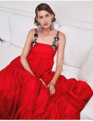 Dragon Optical La Doublej Bouncy Dress Flower Turchese In Silk