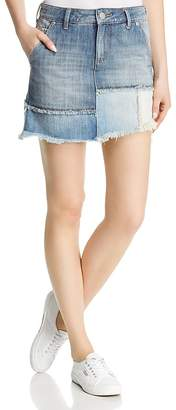 True Religion Layered Denim Mini Skirt in Triple Salute