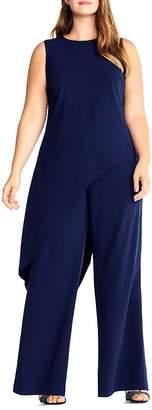 Adrianna Papell Plus Asymmetric Overlay Jumpsuit