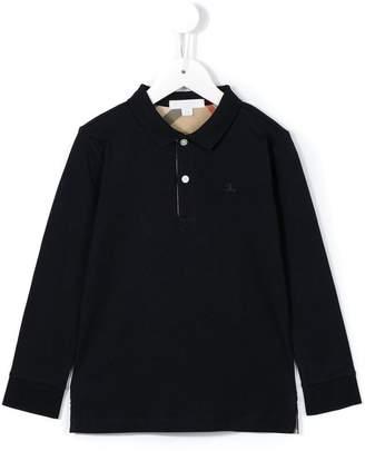 Burberry Long-sleeve Cotton Jersey Polo Shirt