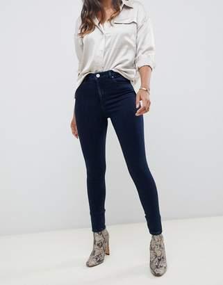 Asos Design DESIGN Ridley high waisted skinny jeans in dark blue wash