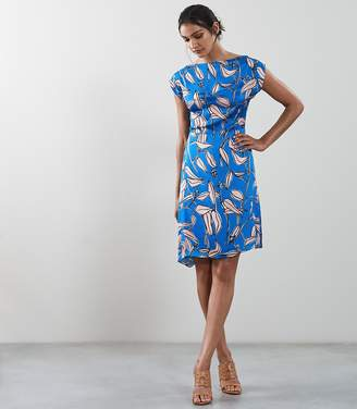 Reiss SARAH IVY PRINT A-LINE DRESS Blue
