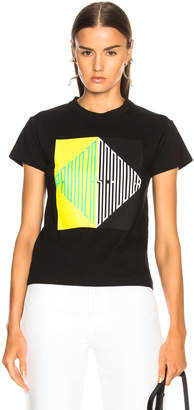 Proenza Schouler Pswl PSWL Split Diamond Printed Tee in Spearmint & White | FWRD