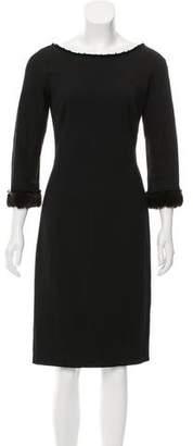 Max Mara Fur-Trimmed Wool Dress