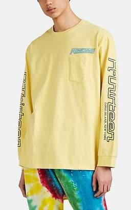 R 13 Men's Surf-Graphic Cotton Long-Sleeve T-Shirt - Yellow