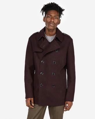 Express Burgundy Wool-Blend Water-Resistant Peacoat