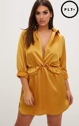 PrettyLittleThing Plus Gold Twist Front Silky Shirt Dress