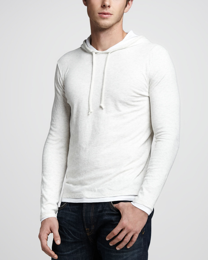 Vince Double-Layer Hoodie, Heather White