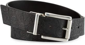 Robert Graham Potter Paisley-Embossed Reversible Leather Belt, Black