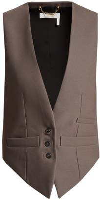 Chloé Satin-panel wool-blend waistcoat