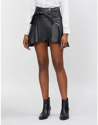 835f825cb Maje Janaki ruffled leather skirt