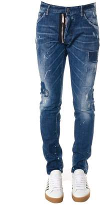 DSQUARED2 Blue Worn Out Jeans In Denim With Lapels