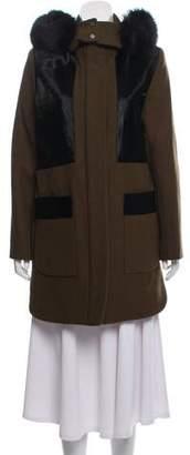 Zac Posen Aster Fox Fur-Trimmed Coat w/ Tags