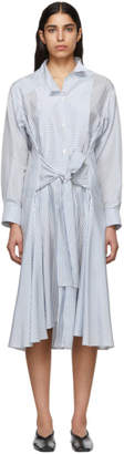 Loewe White and Blue Stripe Silk Shirt Dress