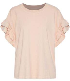 Current/Elliott The Carina Ruffle-Trimmed Cotton-Jersey Top