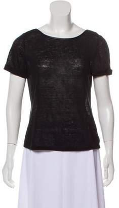 Alice + Olivia Leather-Trimmed Short Sleeve T-Shirt