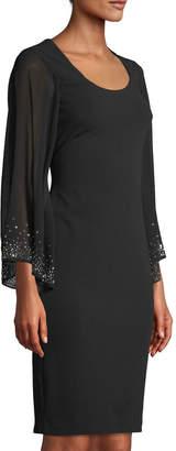 Iconic American Designer Chiffon-Sleeve Scoop-Neck Sheath Dress