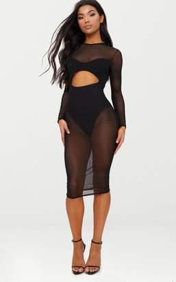 PrettyLittleThing Black Mesh Top Cut Out Detail Midi Dress