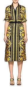 Versace Women's Baroque-Print Silk Belted Shirtdress - Gold