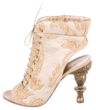 Chanel Brocade Peep-Toe Booties