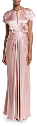 Zac Posen Perry Satin Cowl-Back Short-Sleeve Gown