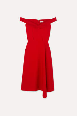Alexander McQueen Off-the-shoulder Asymmetric Wool-blend Crepe Midi Dress - Red
