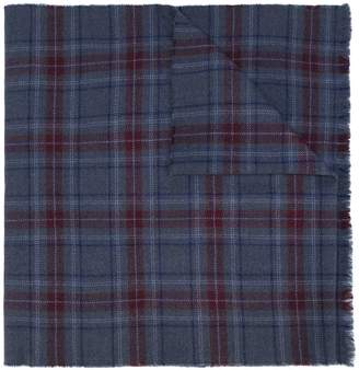 Valentino slogan print checked scarf