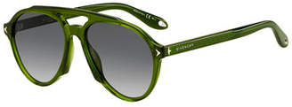Givenchy Acetate Aviator Sunglasses, Green