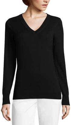 WORTHINGTON Worthington Long Sleeve V-Neck Sweater - Tall