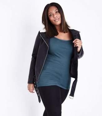 New Look Curves Dark Green Scoop Neck Shoestring Vest
