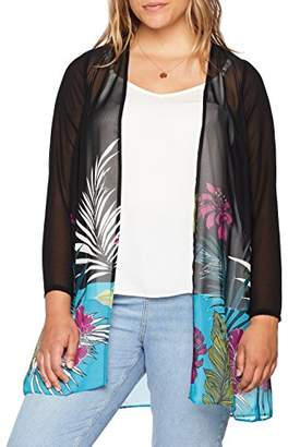 Evans Women's Border Tropical Kimono Blouse,(Size: /24)