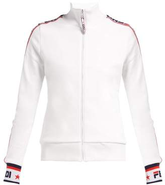 Fendi Mania Zip Through Cotton Blend Sweatshirt - Womens - White Multi