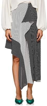 Robert Rodriguez Women's Asymmetric Striped Crepe Midi-Skirt