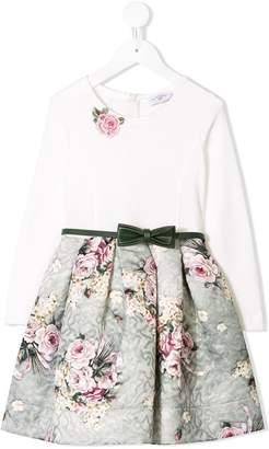 MonnaLisa rose appliqué flared dress