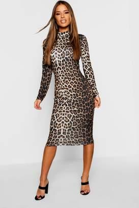 boohoo Petite High Neck Long Sleeve Leopard Midi Dress