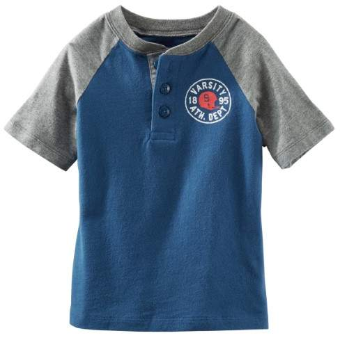 Carter's OshKosh B'gosh Little Boys' Colorblock Henley (Toddler Clothing Outfit/Top) - Blue - 4T