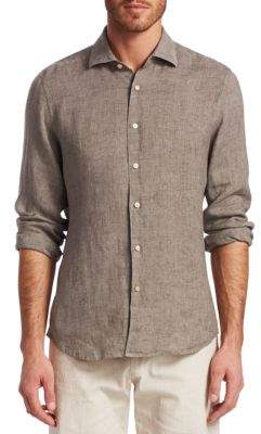 Saks Fifth Avenue COLLECTION Solid Linen Woven Shirt