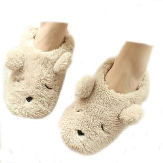 Fakeface Womens Indoor Warm Fleece Slippers, Ladies Girls Lovely Cartoon Bear Winter Soft Cozy Thermal Non-slip Fuzzy Plush Mules Home Indoor Floor Slip-on Shoes Ankle Boots