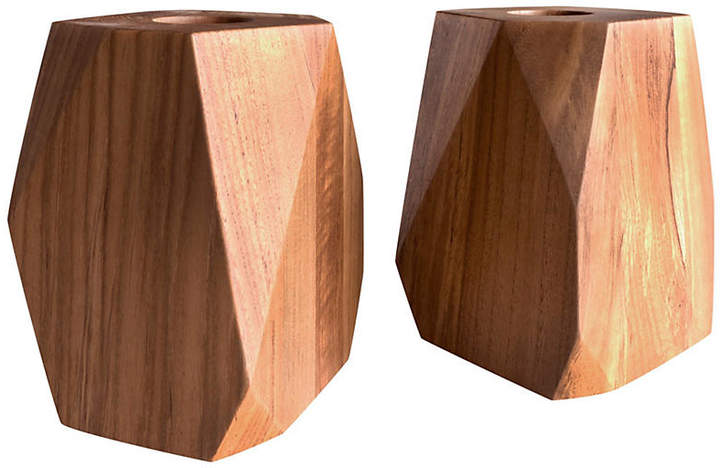 Set of 2 Large Prism Teakwood Votive Holders
