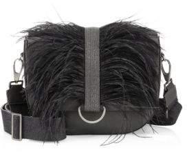 Brunello Cucinelli Ostrich Feather& Leather Shoulder Bag
