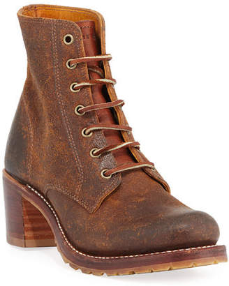 Frye Sabrina Distressed Lace-Up Boots