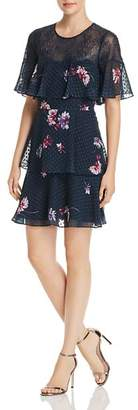 BCBGMAXAZRIA Lace Trim Tiered Floral Chiffon Dress