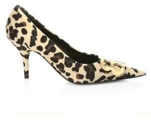 Balenciaga Velour Leopard-Print Pumps