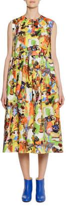 Marni Animal Parade Print by Frank Naven A-line Cotton-Poplin Dress